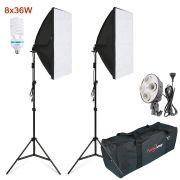 Kit Iluminação Estúdio - Softbox Light 60x80 8x32W - SL6080