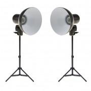 Kit Iluminador Foto e Vídeo Refletor 2x FV414 com Tripé 75cm