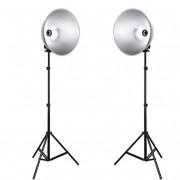 Kit Iluminador Foto e Vídeo Refletor 2x FV411 com Tripé 2m