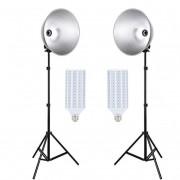 Kit Iluminador Led Foto e Vídeo Refletor FV411 2x60W e Tripé 2m