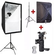 Kit Para Flash Speedlight c/ Tripé Softbox 60x90 e Suporte 1033C