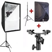 Kit Para Flash Speedlight c/ Tripé Softbox 60x90 e Suporte Duplo LS31