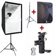 Kit Flash Speedlight - Tripé Softbox 60x90 e Suporte LS24