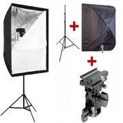 Kit Flash Speedlight - Tripé Softbox 60x90 e Suporte LS27