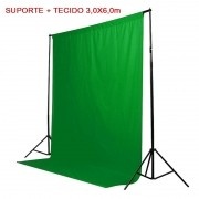 Kit Fundo Infinito Movel 2,50m com Fundo Muslin Verde 3,0x6,0m
