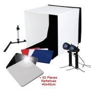 Mini Estúdio Fotográfico Portátil 60x60x60 - 2x50W c/Placa Reflexão