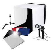 Mini Estúdio Fotográfico Portátil 60x60x60 - 2x5W LED e Placa Reflexão