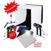 Mini Estudio Fotografico Portatil 60x60x60 - 4x50W e Placa Reflexão