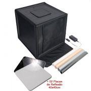 Mini Estúdio Fotográfico Portátil 60x60x60 - LED e Placa Reflexão