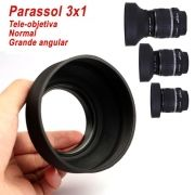 Parassol de Borracha 3Way para Objetiva DSLR - 55mm - G/A, Normal e Tele