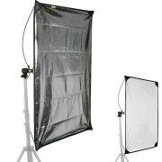 Rebatedor Retangular Prata/Branco para Estúdio - 80x150cm