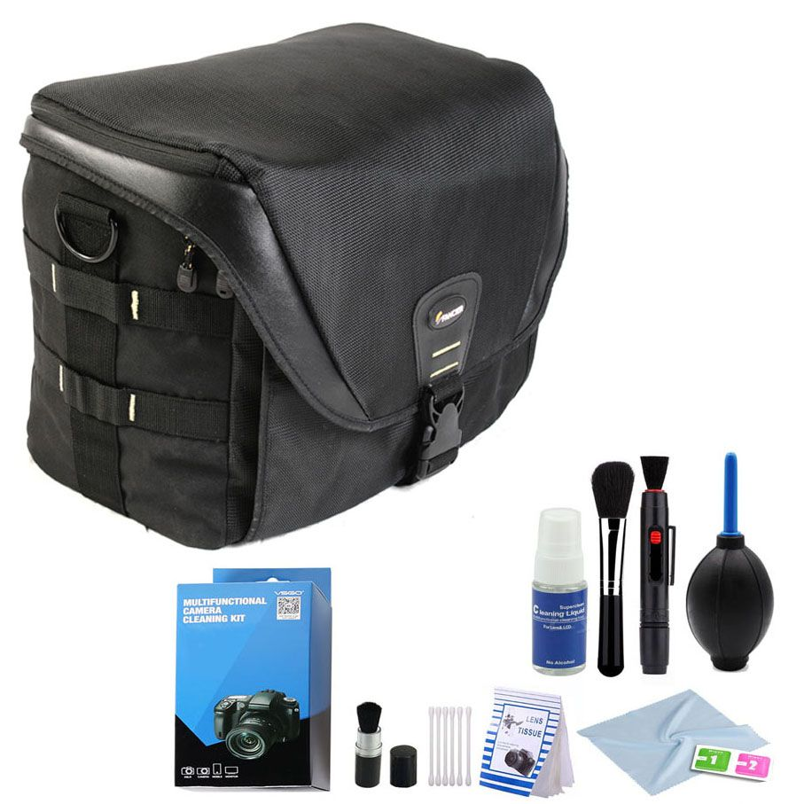 Bolsa Camera DSLR Video Laptop - Fancier FB 300 AW com Kit de Limpeza EC01  - Diafilme Materiais Fotográficos