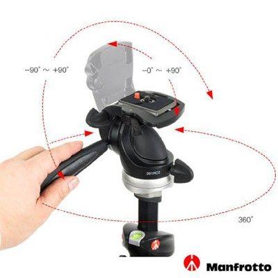 Cabeca 3way para Tripe DSLR ou Video - Manfrotto 391RC2 - 5,0kg  - Diafilme Materiais Fotográficos
