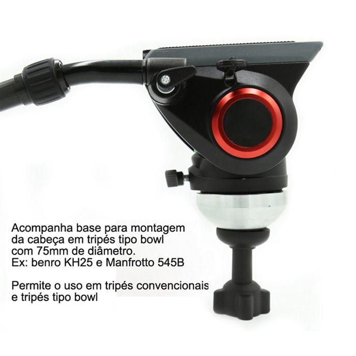 Cabeca Fluida para Tripe DSLR ou Video - DVH-7650 Pro Video - 5,0kg  - Diafilme Materiais Fotográficos