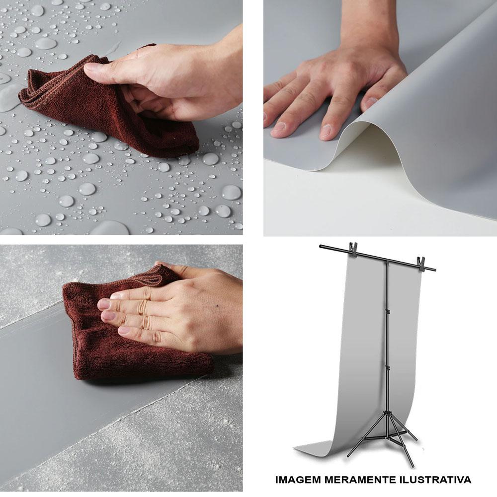 Kit Fundo Infinito Fotografico Backdrop de PVC com Suporte - Preto - 100x200 cm  - Diafilme Materiais Fotográficos