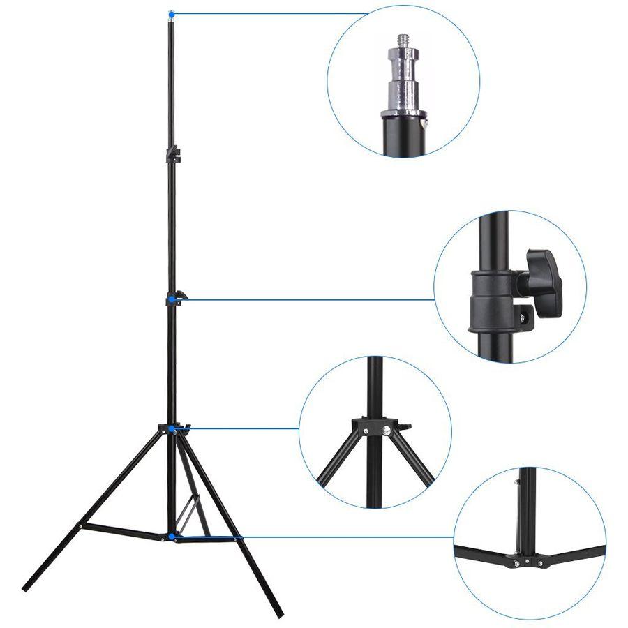 Kit Iluminação Estúdio LED 3x60W Softbox 50x70cm com Girafa  - Diafilme Materiais Fotográficos