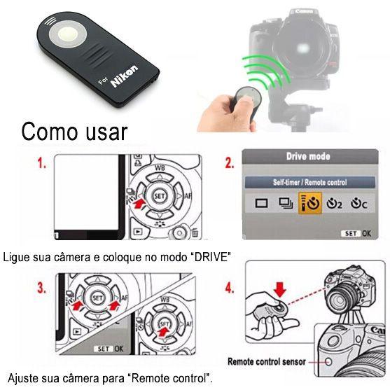Disparador Remoto IR para Câmera DSLR - Compatível NIKON  - Diafilme Materiais Fotográficos