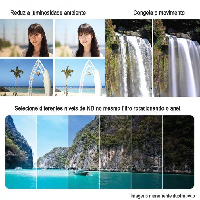 Filtro Densidade Neutra Vario NDX2-400 - Fotobestway 62mm  - Diafilme Materiais Fotográficos