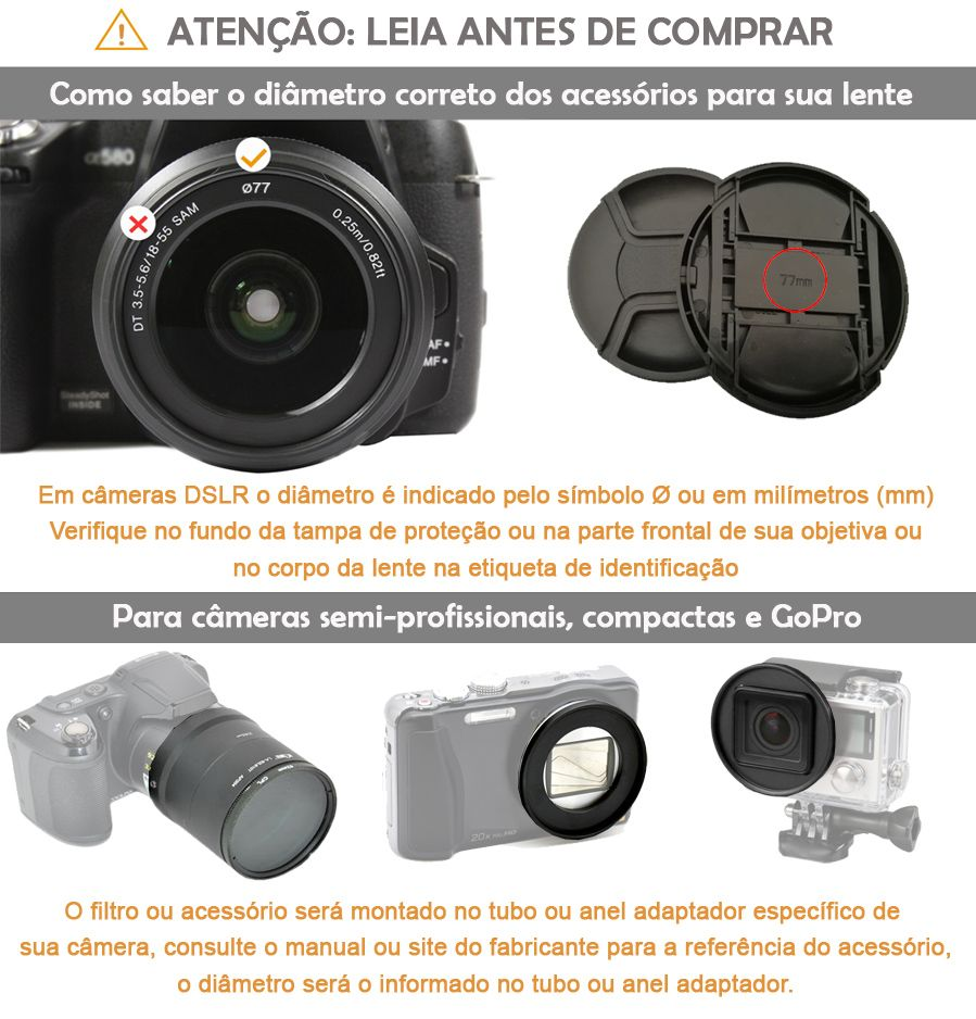Filtro para Câmera Close Up Kit - FotoBestway 72mm  - Diafilme Materiais Fotográficos