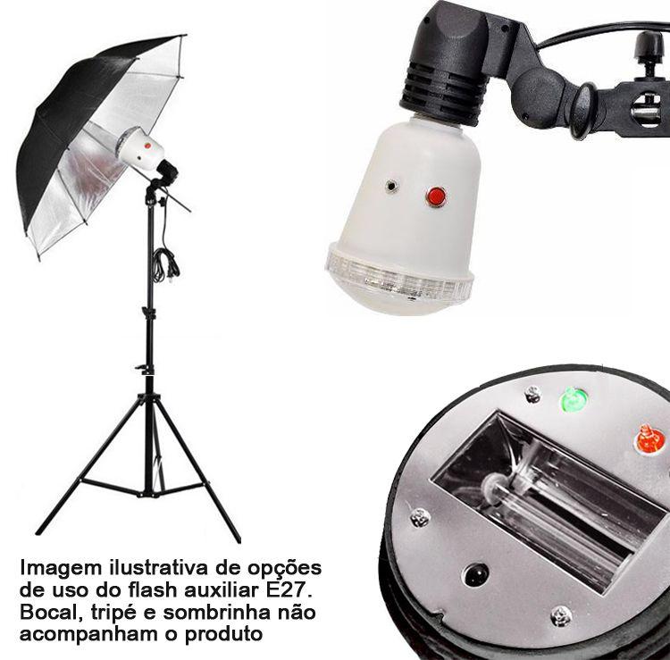 Flash para Estúdio Fotográfico - E27 Slave Auxiliar - 45W  - Diafilme Materiais Fotográficos