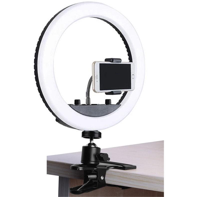 Iluminador Ring Led RL10A USB com Garra St14 - 26cm - Controle Cor Luminosidade  - Diafilme Materiais Fotográficos