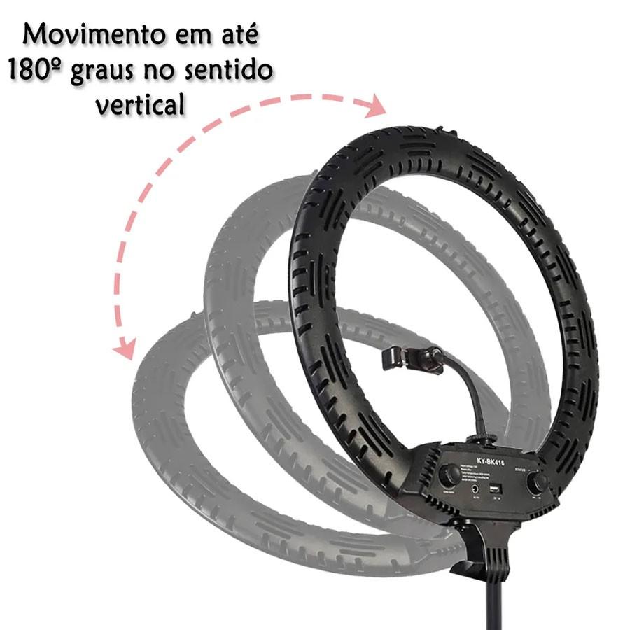 """Iluminador Ring Light Led 18"""" 65W com Tripé 2m - BK416 BJ024  - Diafilme Materiais Fotográficos"""