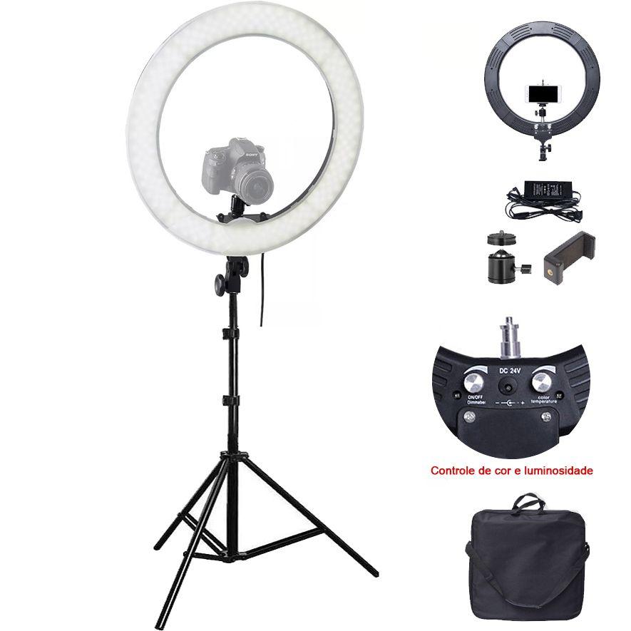 Iluminador Ring Light Led com Tripé - 48cm - Controle Cor Luminosidade  - Diafilme Materiais Fotográficos