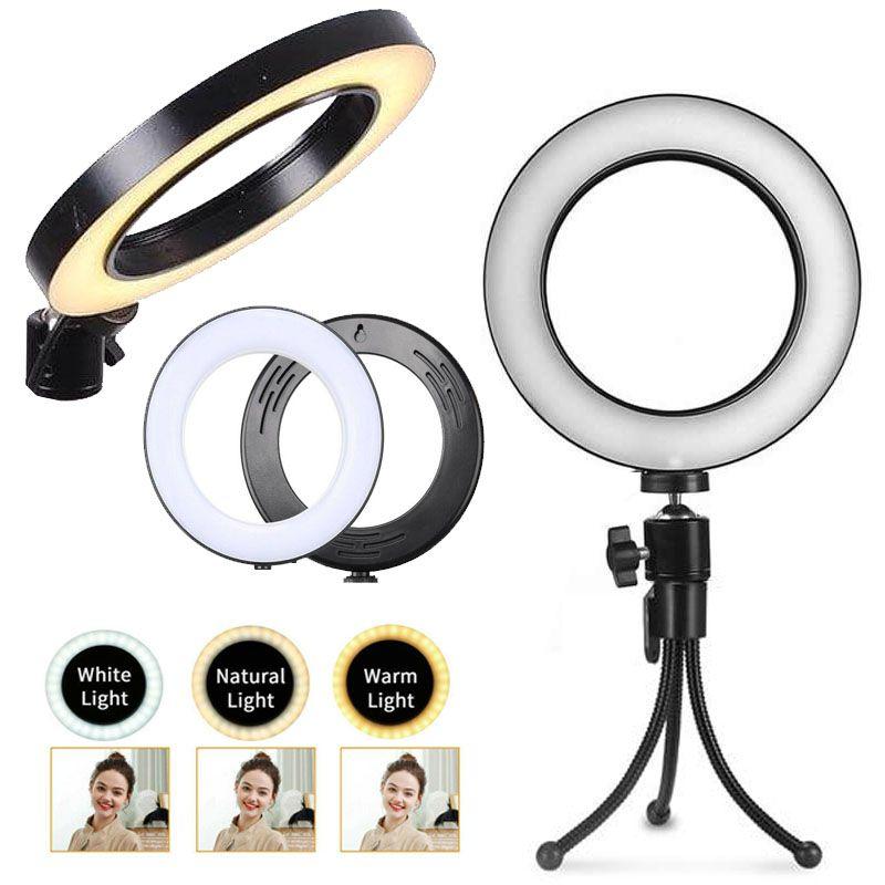Iluminador Ring Light Led USB com Tripé - 16cm - Controle Cor Luminosidade  - Diafilme Materiais Fotográficos