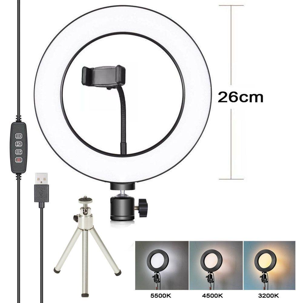 Iluminador Ring Light Led USB com Tripé - 26cm - Controle Cor Luminosidade  - Diafilme Materiais Fotográficos