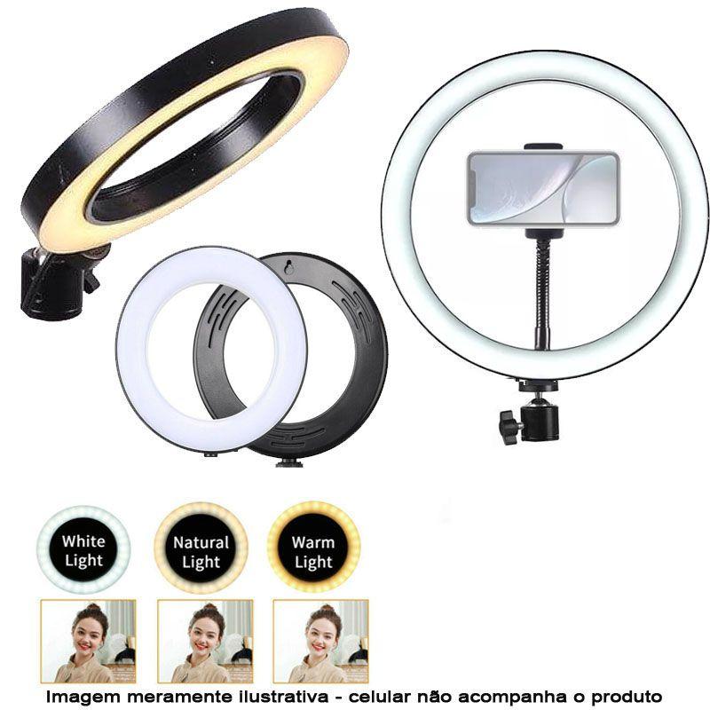 Iluminador Ring Led RL10 USB com Tripé - 26cm - Controle Cor Luminosidade  - Diafilme Materiais Fotográficos