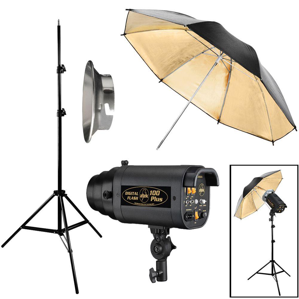 Kit Flash Estúdio Atek 100 Plus Tripé e Sombrinha Dourada  - Diafilme Materiais Fotográficos