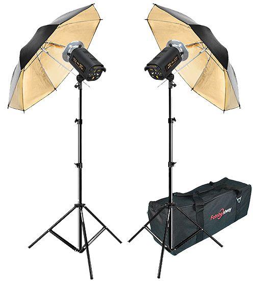 Kit Flash Estúdio Atek 2x100 Plus Tripé Sombrinha Ouro e Bag  - Diafilme Materiais Fotográficos