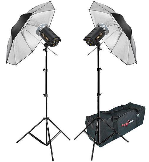 Kit Flash Estúdio Atek 2x100 Plus Tripé Sombrinha Prata e Bag  - Diafilme Materiais Fotográficos