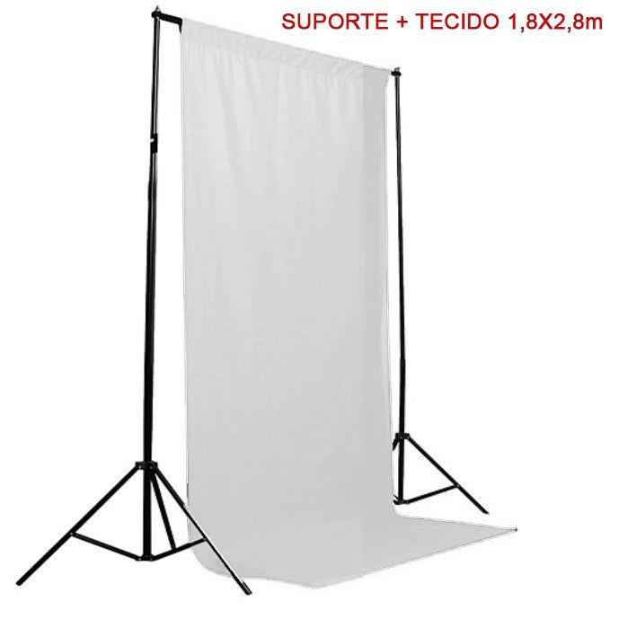 Kit Fundo Infinito Movel 2,50m com Fundo Muslin Branco 1,8x2,8m  - Diafilme Materiais Fotográficos