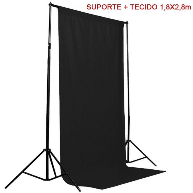 Kit Fundo Infinito Movel 2,50m com Fundo Muslin Preto 1,8x2,8m  - Diafilme Materiais Fotográficos