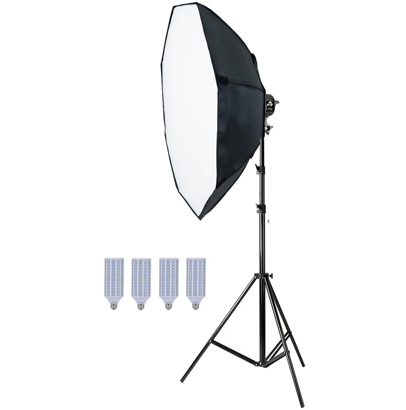 Kit Iluminação Estúdio 4x60W com Softbox Octo 140 Tubo Base E27 e Tripé  - Diafilme Materiais Fotográficos