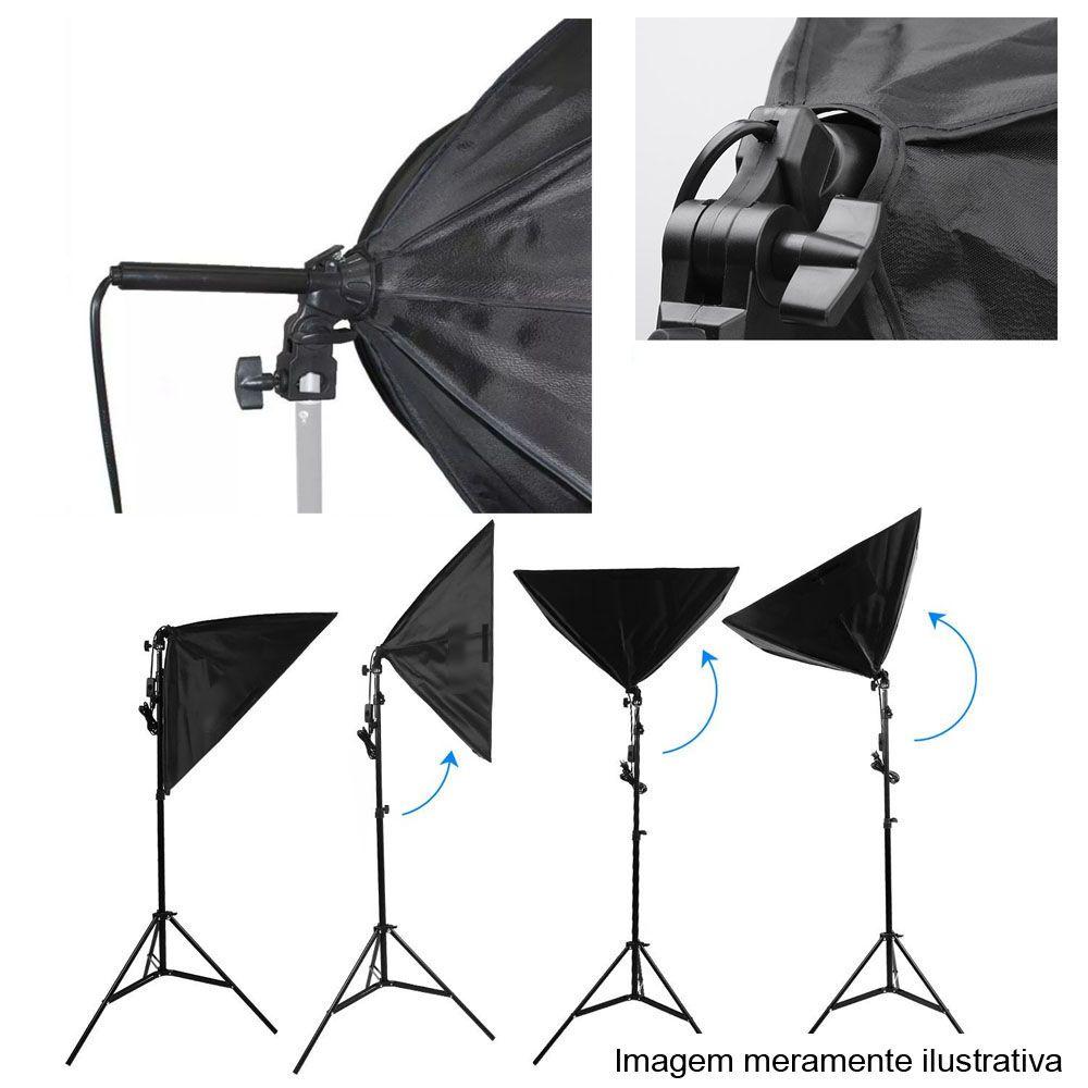 Kit Iluminação Estúdio LED 2x60W Softbox 40x60 com Tripé  - Diafilme Materiais Fotográficos