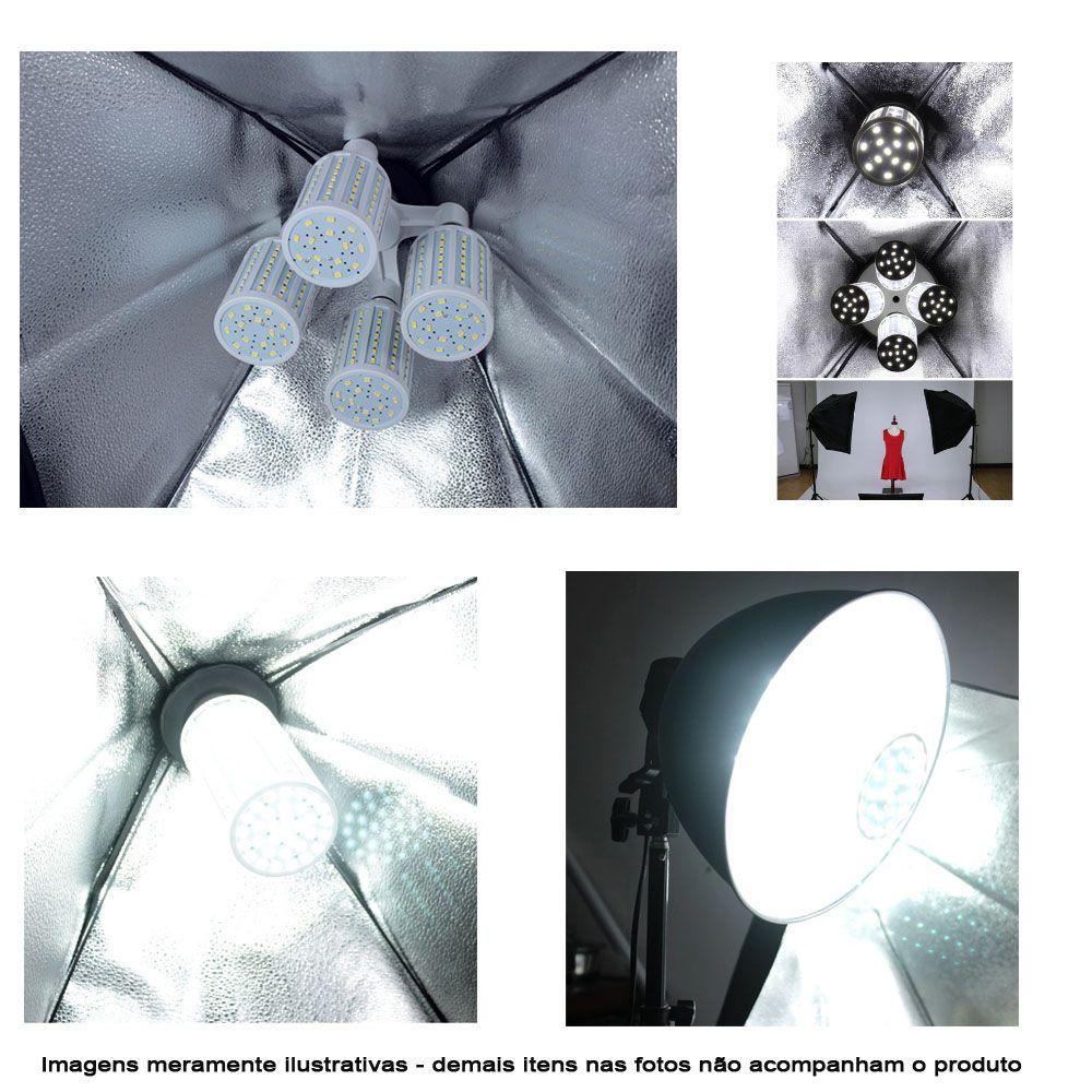 Kit Iluminação Estúdio LED 2x60W Softbox 60x60 com Tripé  - Diafilme Materiais Fotográficos