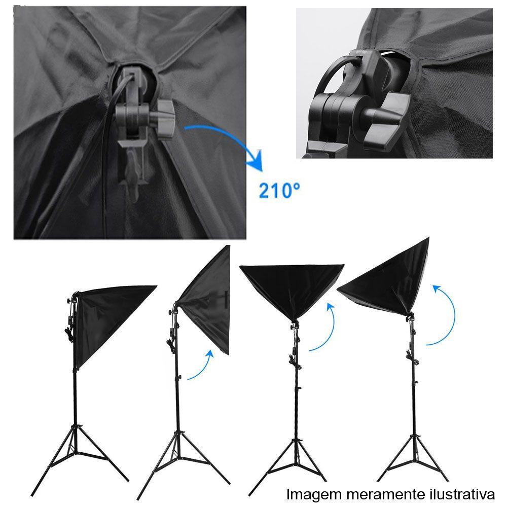 Kit Iluminação Estúdio LED 3x60W Softbox 40x60 com Girafa  - Diafilme Materiais Fotográficos