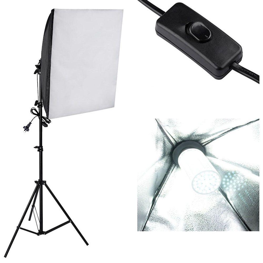 Kit Iluminação Estúdio LED 3x60W Softbox 60x60 com Girafa  - Diafilme Materiais Fotográficos