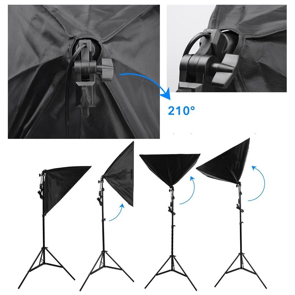 Kit Iluminação Estúdio Led 60W Softbox 50x70 com Girafa  - Diafilme Materiais Fotográficos