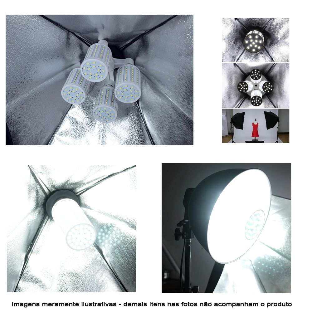 Kit Iluminação Estúdio LED 60W Softbox 50x70 com Tripé  - Diafilme Materiais Fotográficos