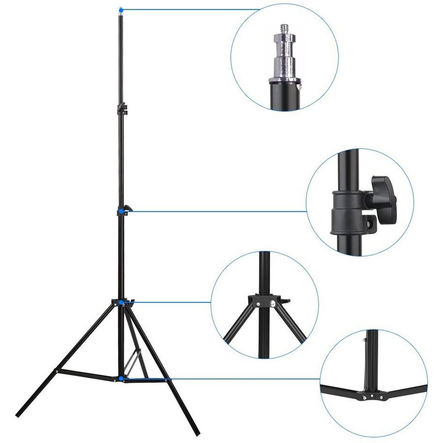 Kit Iluminação Estúdio LED 8x28W Softbox Quad ES470 60x80 com Tripé  - Diafilme Materiais Fotográficos