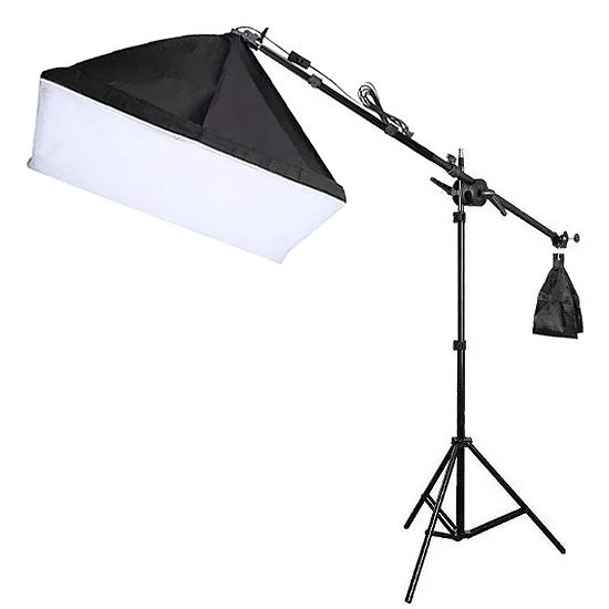 Kit Iluminação Estúdio Softbox E27 40x60cm com Girafa  - Diafilme Materiais Fotográficos