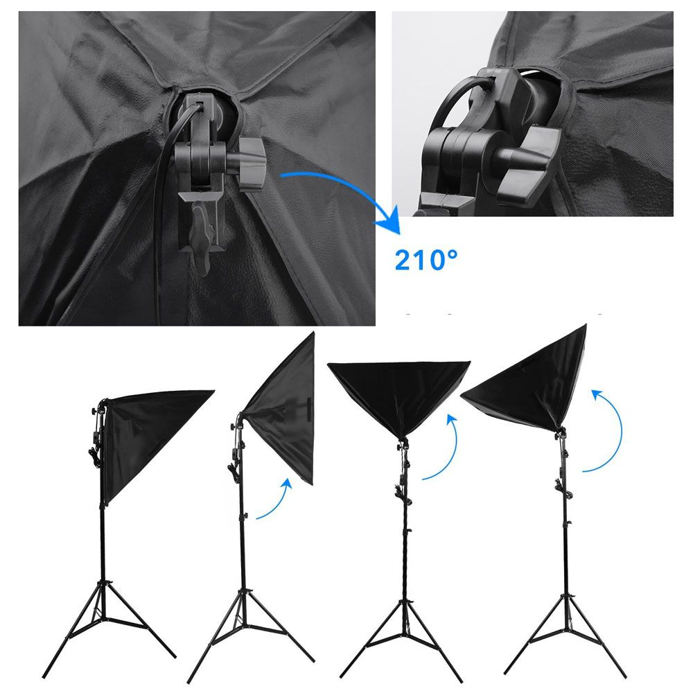 Kit Iluminação Estúdio Softbox E27 50x70 com Girafa  - Diafilme Materiais Fotográficos