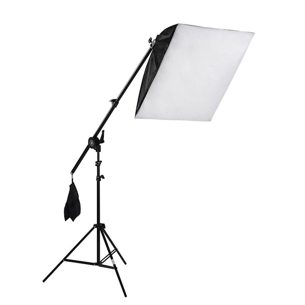 Kit Iluminação Estúdio Softbox E27 60x60cm com Girafa  - Diafilme Materiais Fotográficos