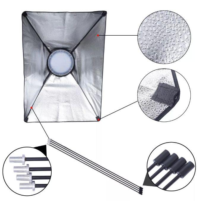 Kit Iluminação Estúdio - Softbox Led Light 50x70 - 126 Leds Ajuste de Cor e Potência  - Diafilme Materiais Fotográficos