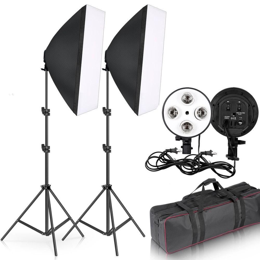 Kit Iluminação Estúdio Softbox Quad ES470 50x70 Tripé Bolsa  - Diafilme Materiais Fotográficos