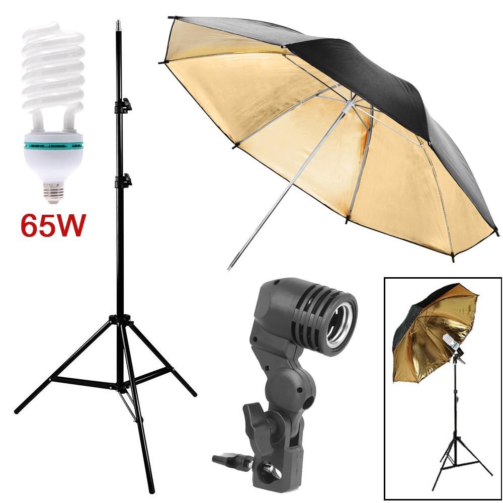 Kit Luz Contínua Estúdio 65W - Tripé Suporte E27 Sombrinha Rebatedora Dourada  - Diafilme Materiais Fotográficos