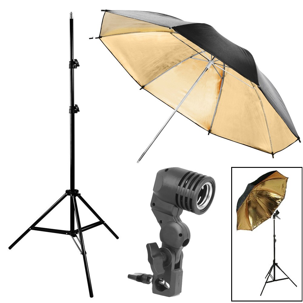 Kit Luz Contínua Estúdio - Tripé Suporte E27 Sombrinha Dourada  - Diafilme Materiais Fotográficos
